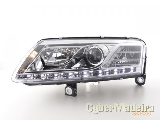 Faróis com ledes diurnos Audi A6 04-08 cromado