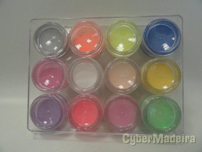 Pó acrilico cores metal para nail art