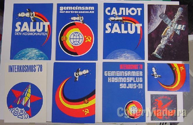 Colecção de postais E autocolantes da missão soyuz 31