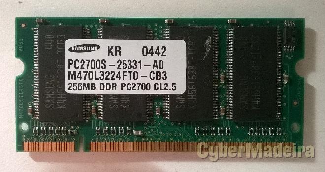 Memórias ram de 256MB para portátil