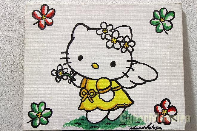 Quadro pintado à mão - hello kitty