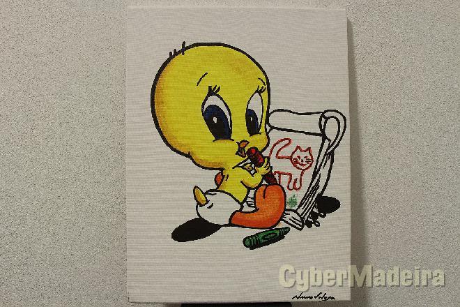 Quadro pintado à mão - tweety  piu-piu