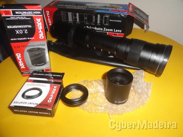 Objetiva 420-800MM opteka f 8.3 hd + adaptador nikon + duplicador 2X Nikon