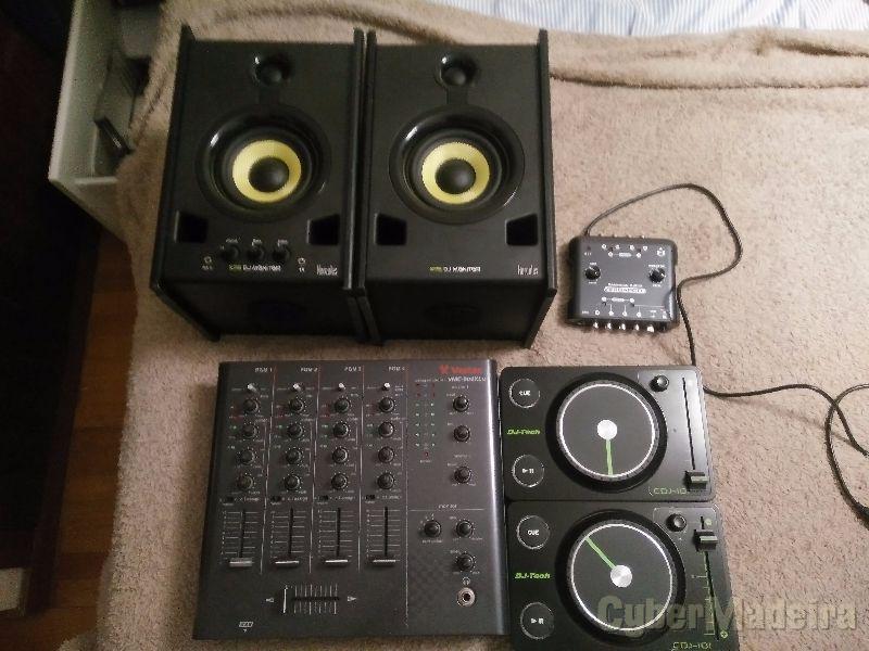 Conjunto dj para pc - mesa de som- controladores - placa som - colunas