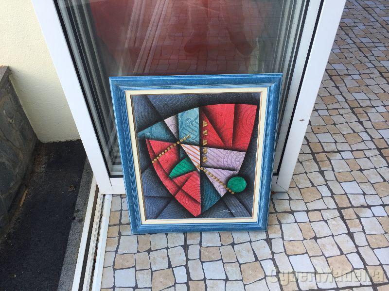 Quadro decorativo pintado à mão 65cm x 55cm