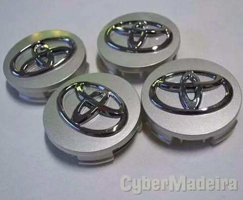 Kit 4 centros jante capa de roda emblema tampo 62MM ToyotaOutros sem pneus