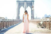 Vestido rosa E branco com renda