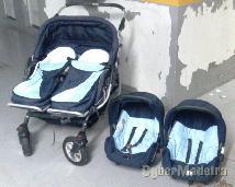 Carrinho de gémeos + alcofas + cadeiras para carro