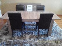 Mesa extensível + cadeiras + aparada + móvel tv