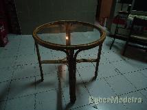 Mesa tampo de vidro redonda
