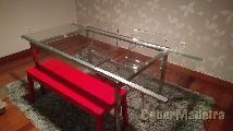 Mesa extensível com tempo em vidro