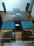 Mobilia de sala - mesa com tampo de vidro 4 cadeiras  sofá  móvel tv E estante