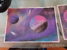 Pintura spray arte espaco E cosmos