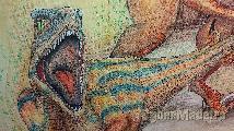 Pintura de aquarela com pormenor em tela de velociraptors 45CMX50CM