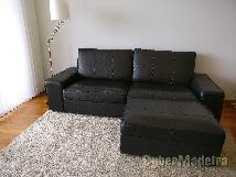 Conjunto em pele de sofá de 3 lugares E repousa-pés