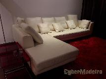 Sofá em pele branca com chaise longue