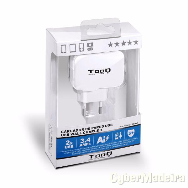 Carregador usb tooq 2XUSB branco ? TQWC-1S02
